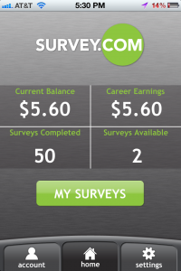 Survey.com Mobile App Home Screen